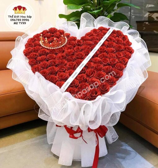 bó hoa sáp tim 99 bông