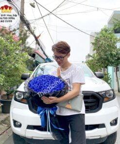bó hoa sáp màu xanh