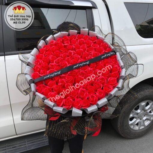 Hoa hồng sáp thơm 99 bông gói lưới cap cấp