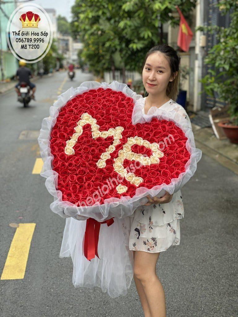 bó hoa sáp trái tim tặng me