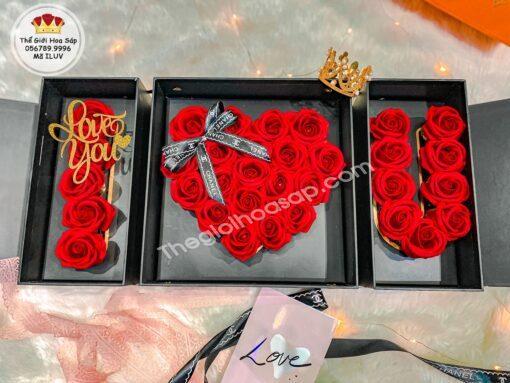 Hộp Hoa I Love You màu đỏ