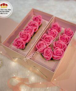 hộp hoa sáp i love you màu hồng