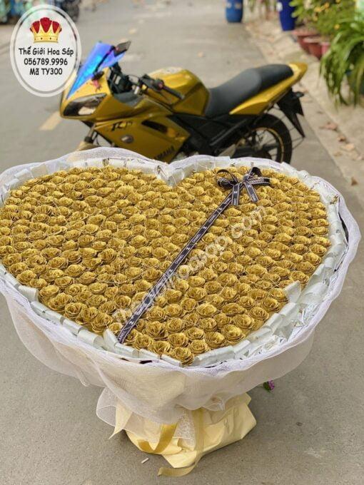 bó lớn 300 bông hoa sáp kim tuyến
